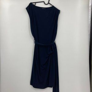 MNG by Mango Navy Sleeveless Dress with Tie